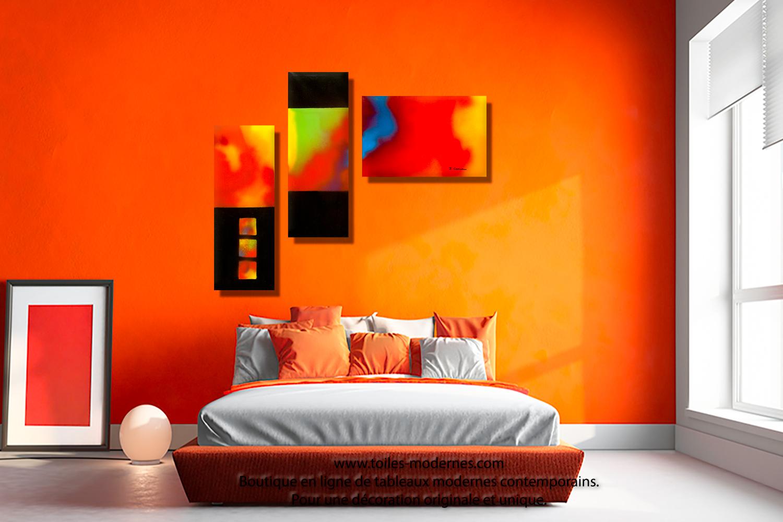 Tableau nouveau art d co color triptyque panoramique rouge jaune bleu for Decoration chambre camaieu orange
