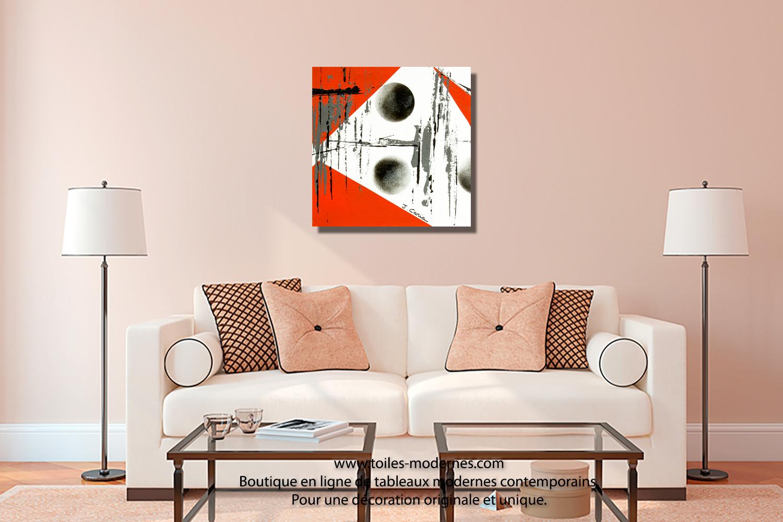 Tableau dessins g om triques abstraits blanc et noir format carr objet d co - Tableau sur mur blanc ...