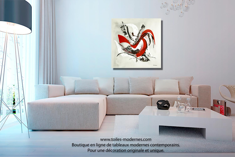 Grand tableau gris d 39 art moderne gris rouge noir format carr xxl pour ma - Tableaux toiles decoration ...
