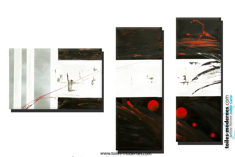 Tableau Dessin Graphique Noir Blanc Triptyque Abstrait