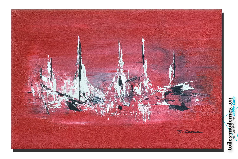 tableau bateaux rouge moderne horizontal objet d co pas cher unique et original. Black Bedroom Furniture Sets. Home Design Ideas
