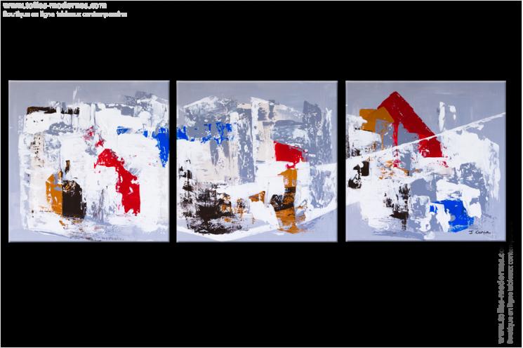 tableau triptyque moderne rectangle gris blanc tableaux contemporains triptyque gris blanc rouge. Black Bedroom Furniture Sets. Home Design Ideas