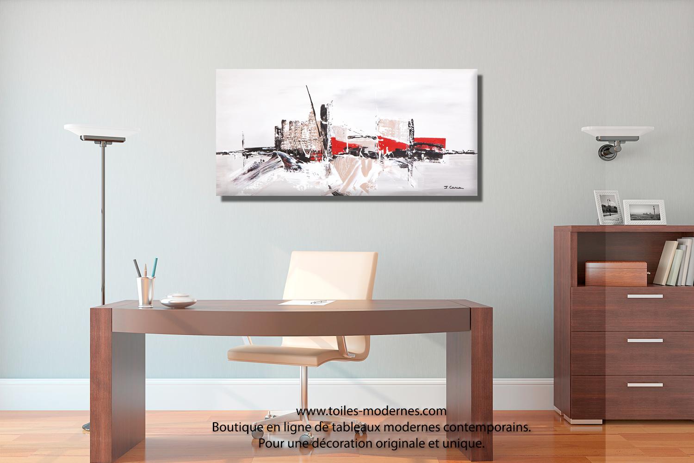 Tableau ville contemporaine gris taupe grand format panoramique pi ce unique - Tableau moderne salon ...