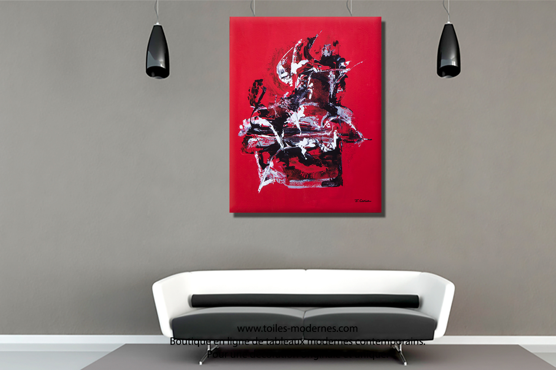 Tableau rouge et noir réflexion grand format vertical