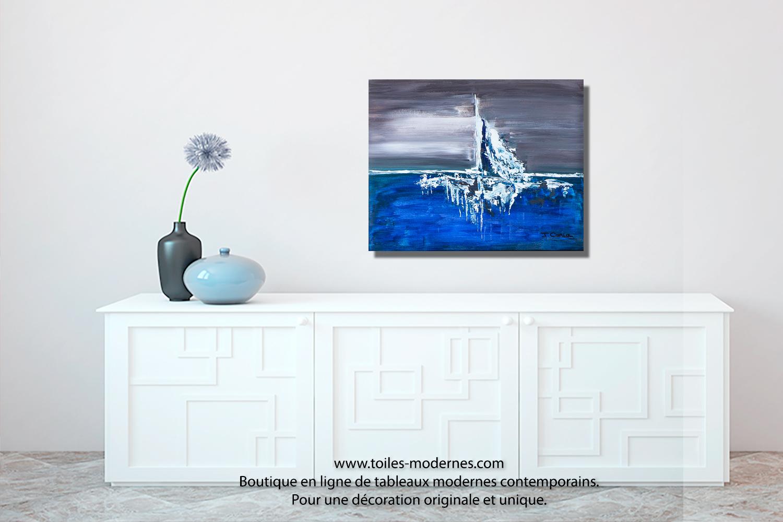 tableau bleu marron etendue d 39 eau format horizontal. Black Bedroom Furniture Sets. Home Design Ideas