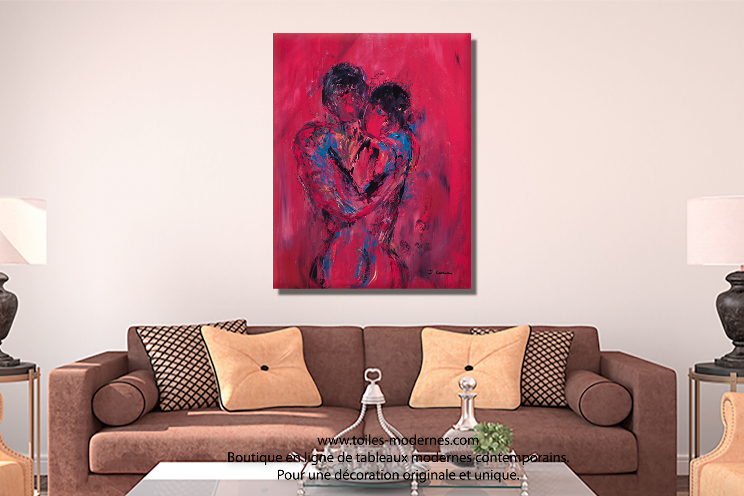Tableau nu rouge le couple format portrait xxl d co for Tableau pour decoration salon