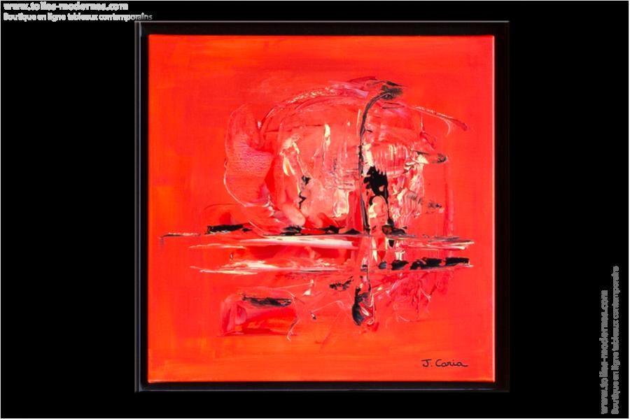 tableau moderne rouge carré abstrait, tableau contemporain