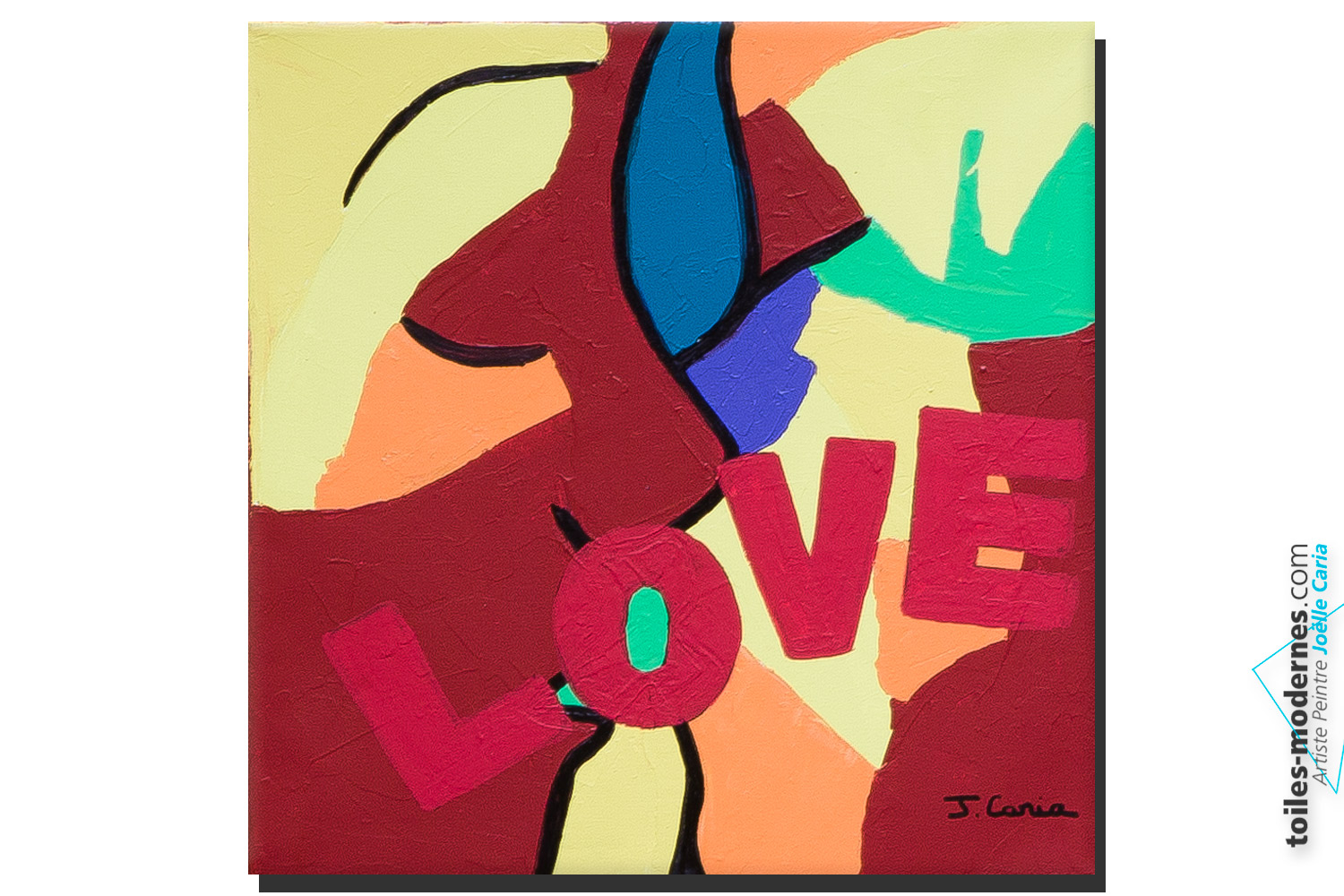 Tableau color th me amour the kiss moderne - Tableau contemporain colore ...