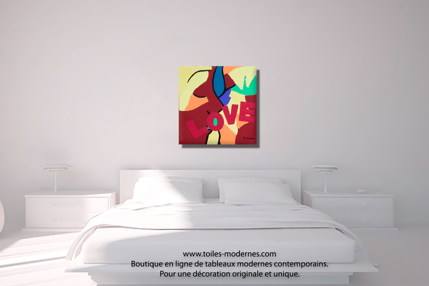 Tableau color th me amour the kiss moderne for Tableau au dessus du lit