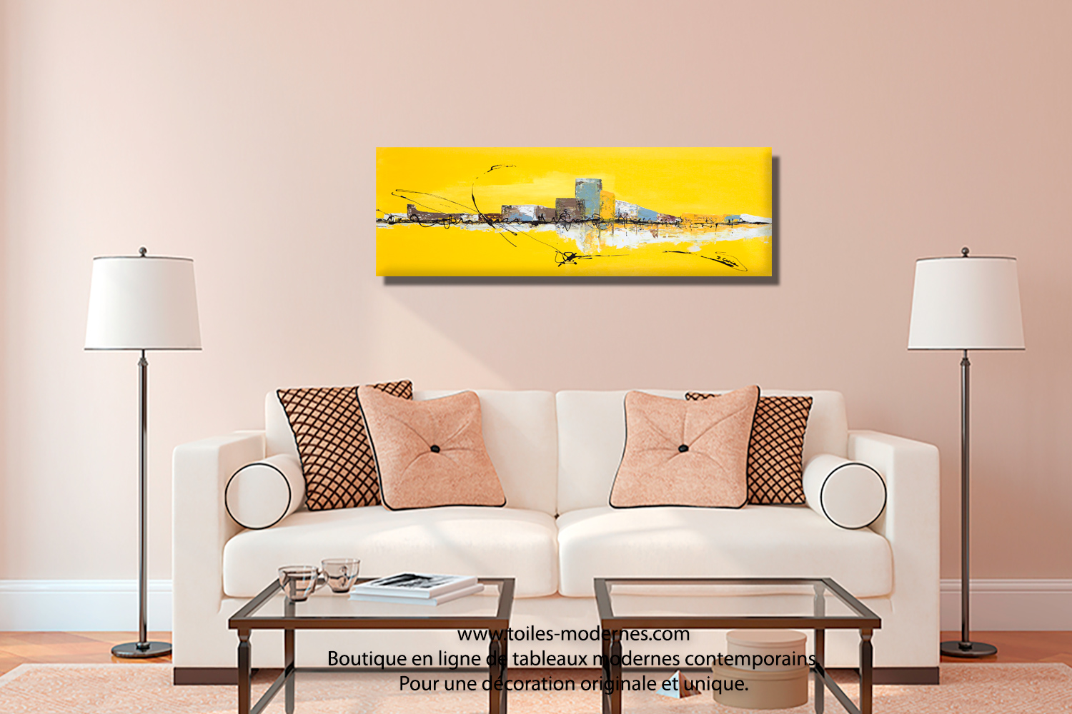 Tableau jaune grand format panoramique xxl art abstrait for Salle a manger jaune moutarde