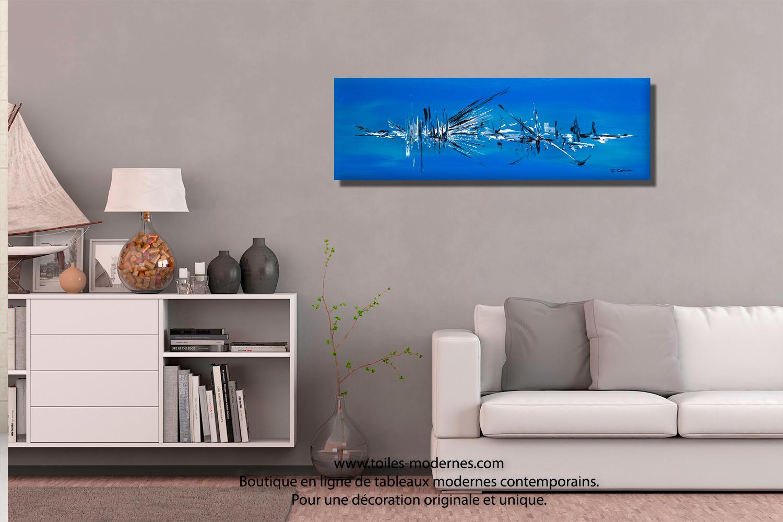 D couvrez un grand tableau bleu format xxl panoramique une pi ce unique de - Grand tableau contemporain ...