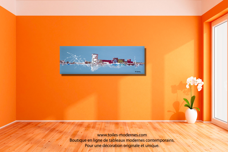 Tableau panoramique bleu gris evolution moderne - Peinture acrylique pour mur interieur ...
