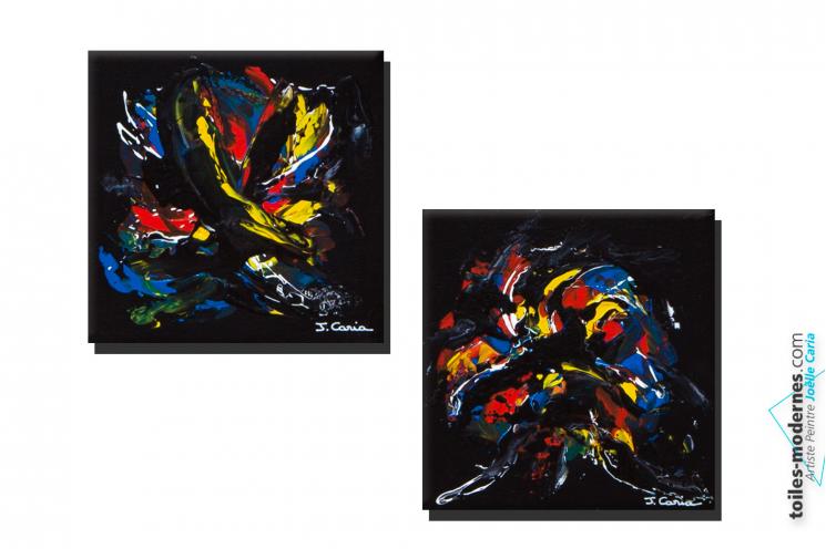 Tableau noir moderne diptyque dessin abstrait cadres for Tableaux modernes colores