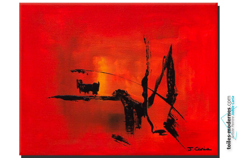 Tableau rouge abstrait hiver au soleil d co couleur vive et dynamique nouvelle collection for Photo de tableau abstrait