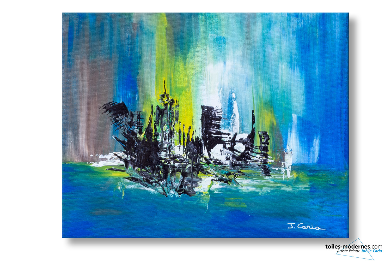 Tableau bleu marron abstrait ville magique moderne for Photos de peinture moderne