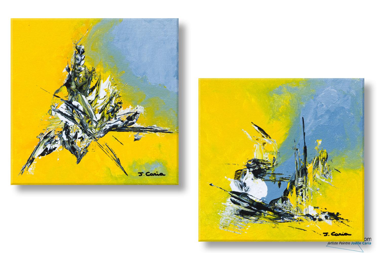 Tableaux jaune gris moderne diptyque cr ations design for Tableau jaune et gris