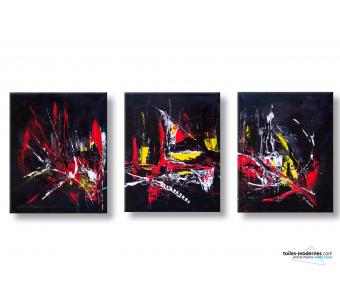 Tableaux triptyque noir abstrait Explosion de couleurs