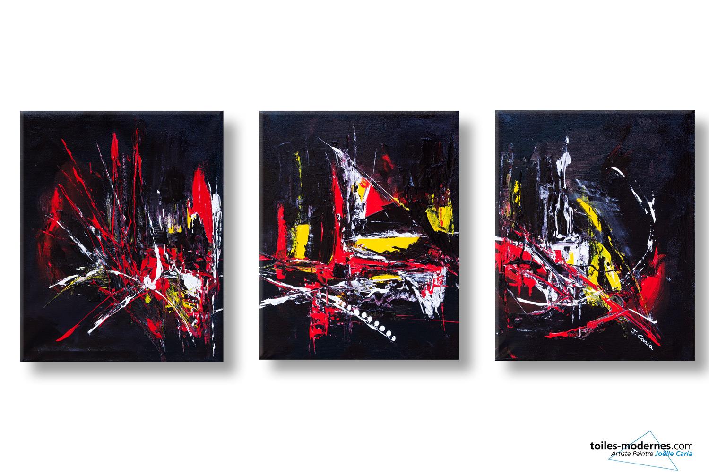 Tableaux triptyque noir moderne explosion de couleurs for Tableau en 3 parties