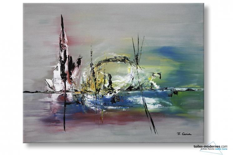 Grand tableau gris contemporain une le volcanique format panoramique couleur - Toiles contemporaines design ...