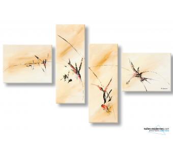 Tableau beige marron contemporain Migration avec crochets spéciaux quadriptyques
