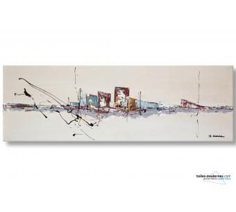 Tableau beige contemporain Une ville en bord de mer
