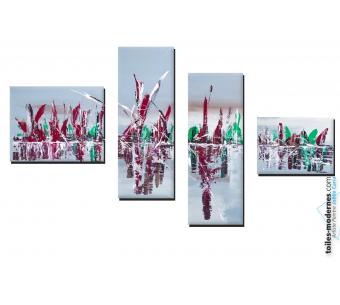 Tableau quadriptyque gris contemporain Voyage fabluleux