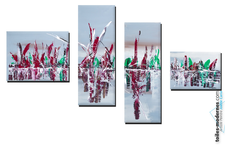 Un tableau quadriptyque gris contemporain tr s grand - Tableau contemporain grand format ...