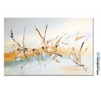 Grand tableau gris beige art contemporain Les insectes