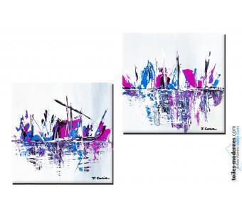Tableaux gris fuschia bleu abstrait Au départ de la course diptyque contemporain