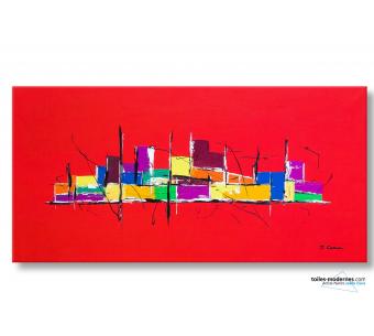 tableau rouge vif création moderne Une ville en liesse pièce unique