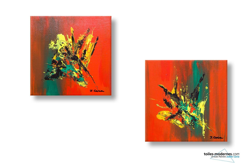 Tableau orange rouge diptyque abstrait insouciance moderne for Tableau pour salon moderne