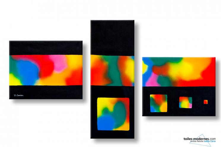 Un tableau triptyque color grand format paysage clairs obscurs cr ation desi - Tableau colore design ...