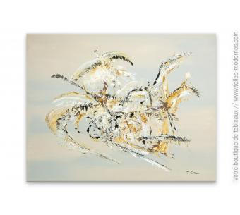 Grand tableau beige et gris : Quand les aigles attaquent