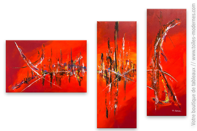 Tableau Rouge Art Abstrait Forte Chaleur