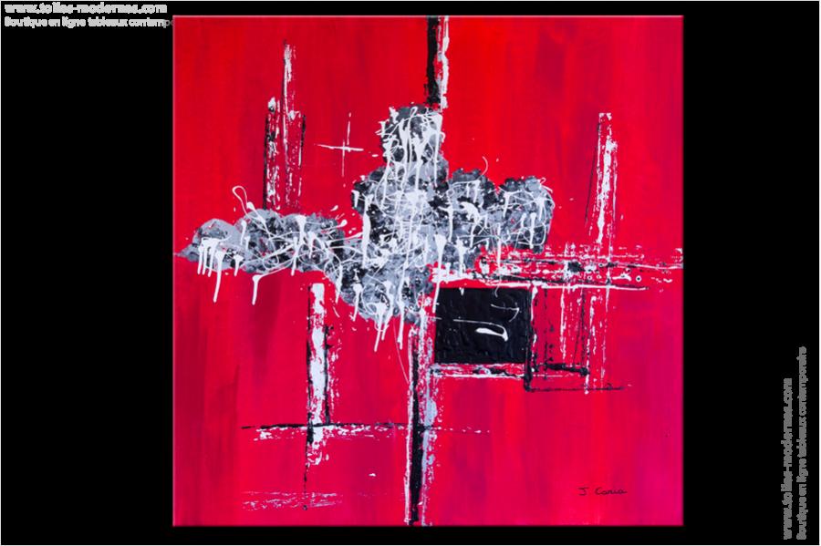 Tableau moderne carr rouge tendance tableau rouge moderne carr grand format - Tableau grand format contemporain ...