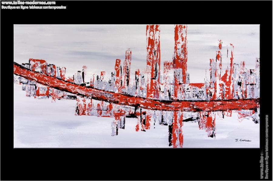 Tableau rectangle 50x100cm gris rouge design tableau for Ville moderne