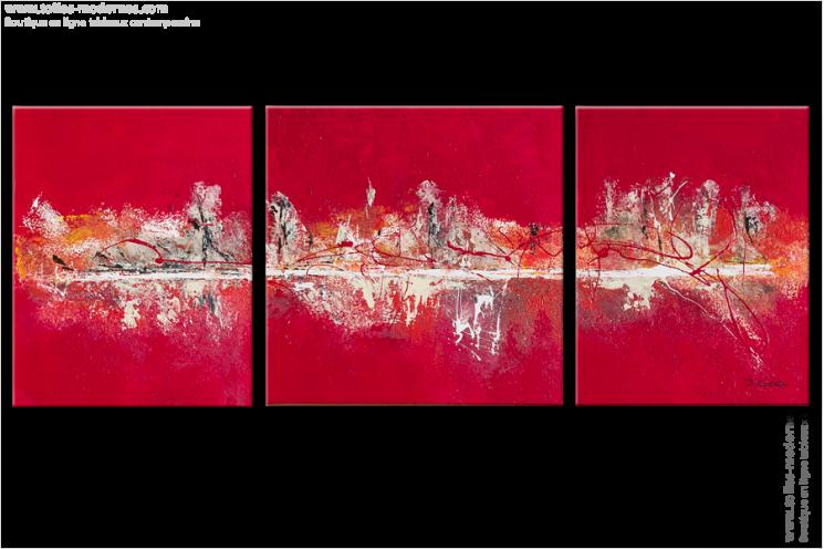 triptyque abstrait rouge flah panoramique tableaux. Black Bedroom Furniture Sets. Home Design Ideas