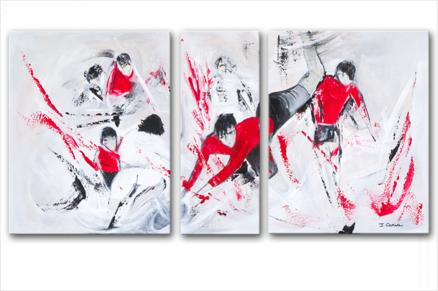 Triptyque abstrait figuratif les battants gris rouge - Triptyque abstrait ...
