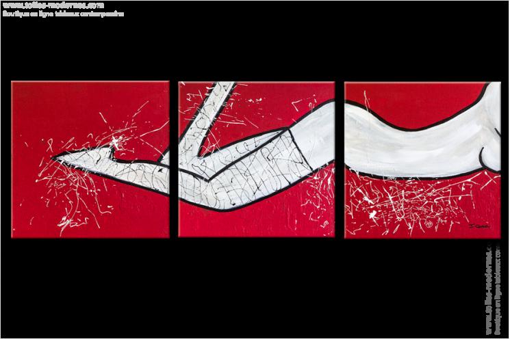 Triptyque abstrait figuratif sensuality rouge rectangle for Tableau blanc et rouge