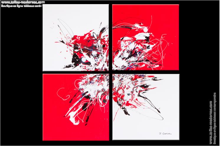 Quadriptyque moderne red and white rouge et blanc tendance carr tableaux abstraits - Tableau gris et blanc ...