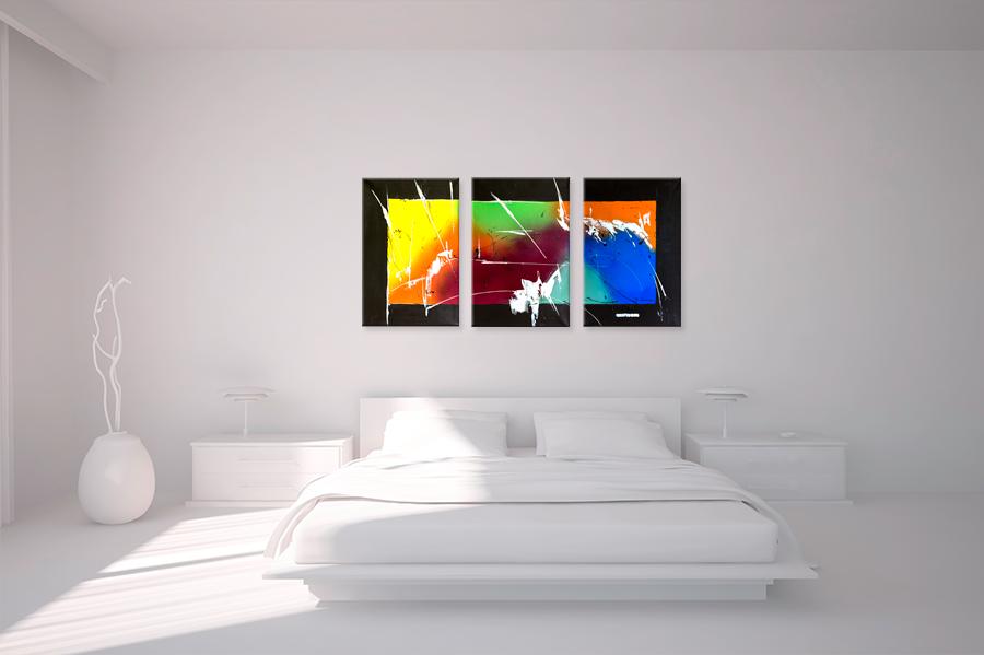 Triptyque contemporain panoramique multicolore tendance tableaux modernes col - Toile moderne pas cher ...