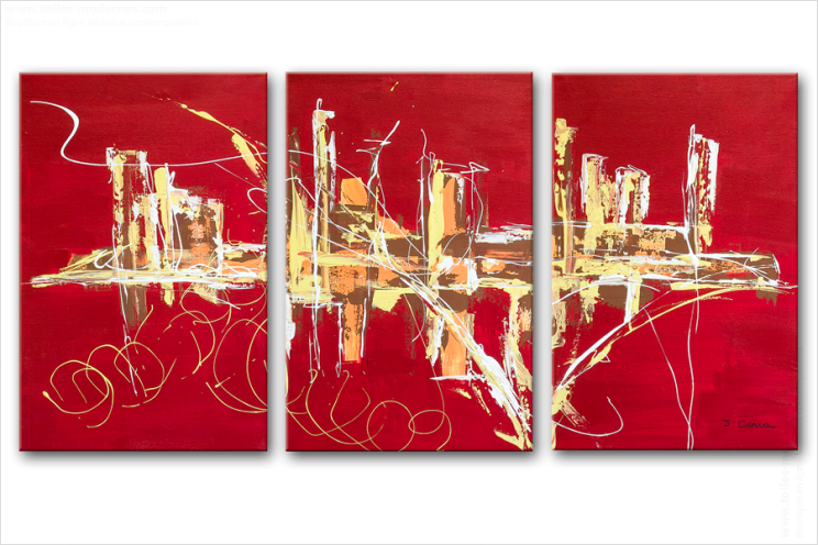 Triptyque abstrait rouge panoramique design tableaux contemporains rouge rect - Tableaux tryptiques contemporains ...