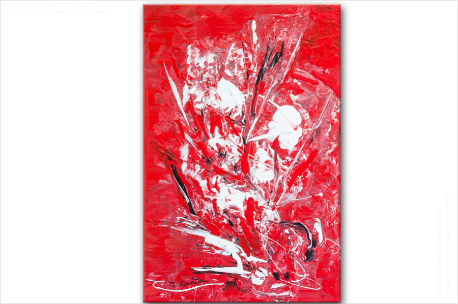 Tableau Abstrait Rouge Vertical Unique Tableau