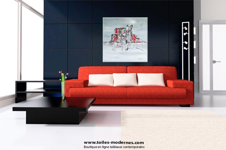 Tableau abstrait gris carr design tableau moderne gris grand format - Tableau moderne grand format ...