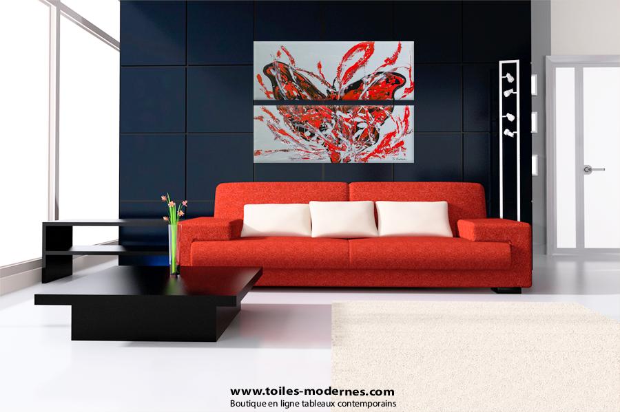 Diptyque abstrait figuratif gris horizontal diptyque for Tableaux modernes pour salon
