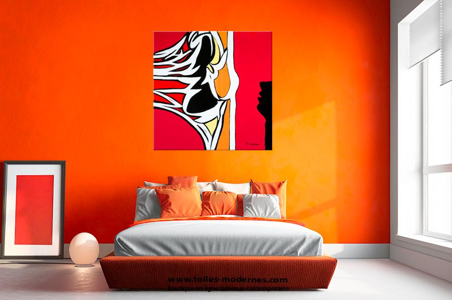 tableau abstrait figuratif rouge carr grand format. Black Bedroom Furniture Sets. Home Design Ideas