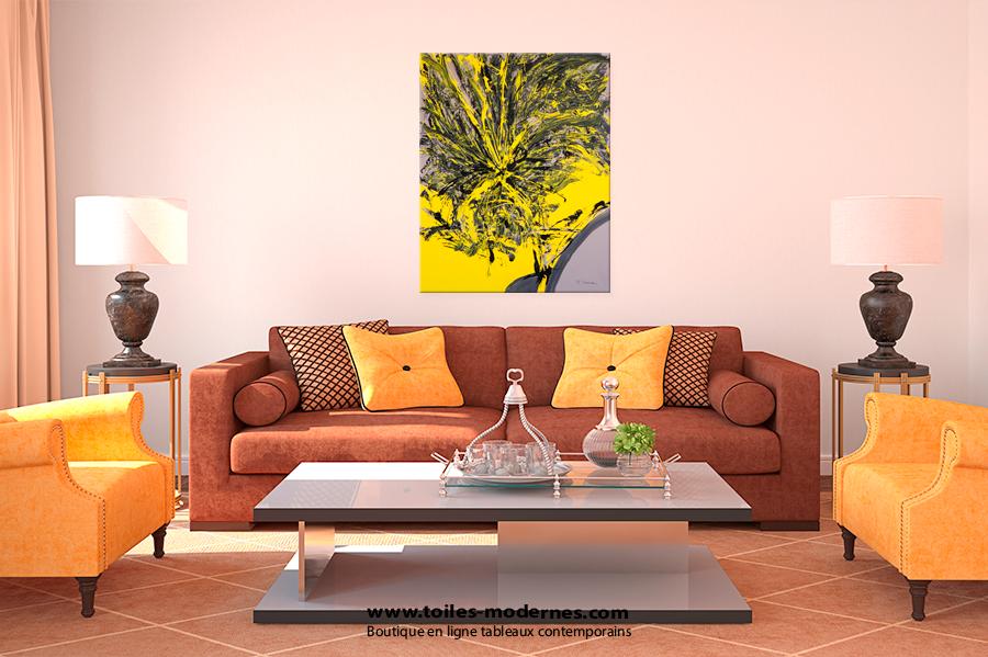 Jo lle caria artiste peintre toiles tableaux - Deco noir et jaune ...