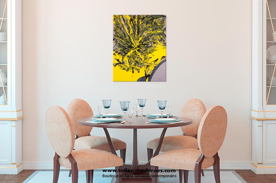 toile abstraite jaune et noir grand format portrait