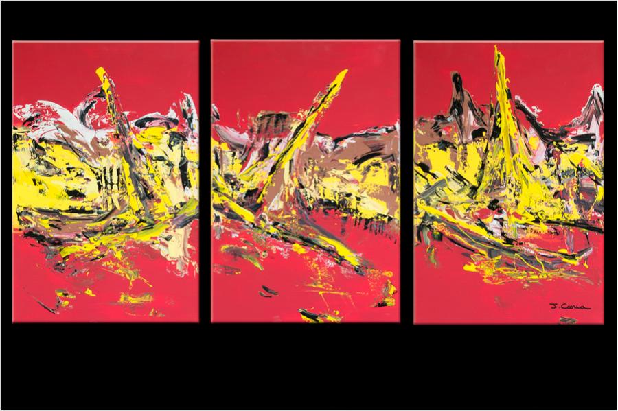 tableau triptyque abstrait rouge format paysage. Black Bedroom Furniture Sets. Home Design Ideas