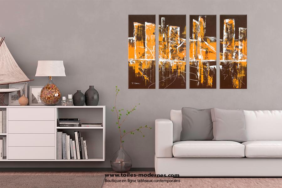 Chambre Adolescent Bleu Gris : tableau quadriptyque abstrait marron grand format horizontal